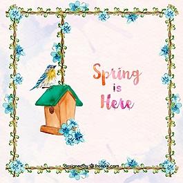 春天背景與花卉框架和鳥與木屋