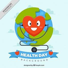 世界衛生日背景與快樂心臟