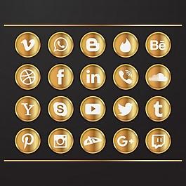 社交網絡的豪華黃金圖標