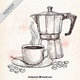 咖啡壺和杯子素描背景
