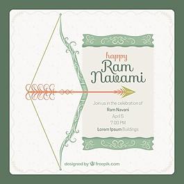 復古的背景與RAM navami慶典裝飾的弓