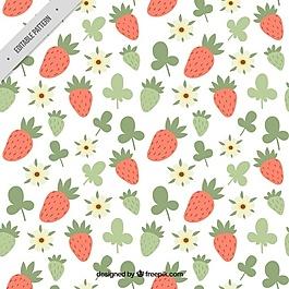 手繪草莓和花卉圖案