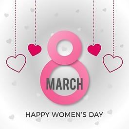 國際婦女節,背景是粉紅色的8
