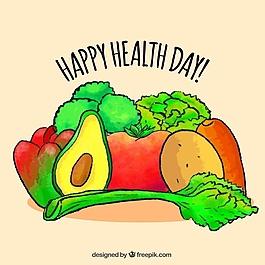 美味蔬菜和手繪水彩水果的背景