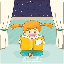 快乐女孩在房间里阅读的背景