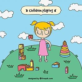 女孩在公园里玩耍的背景