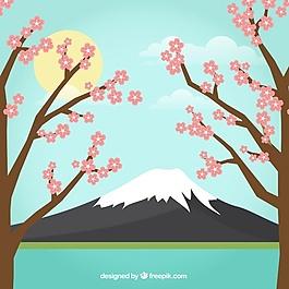 帶樹木的日本景觀背景