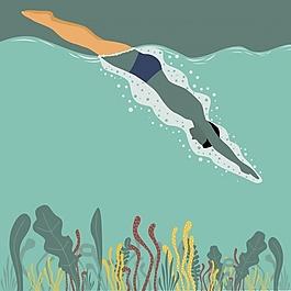 在海上游泳的人