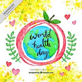 世界衛生日水彩背景與蘋果和世界