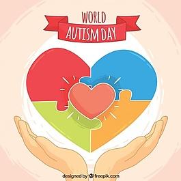 自闭症世界日的背景与心和谜
