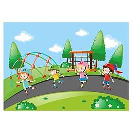 在公园里玩得开心的孩子