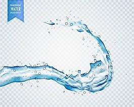 透明背景下的蓝色液体飞溅