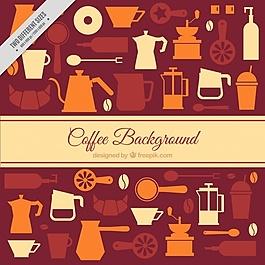 平面背景與裝飾咖啡項目