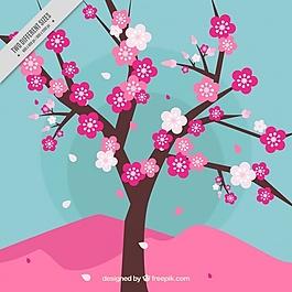 一棵開花的樹下