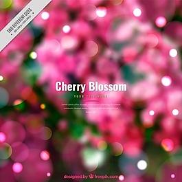 背景虛化的櫻花背景與閃亮的形狀
