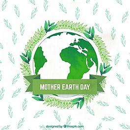 水彩背景与地球和地球母亲日植物