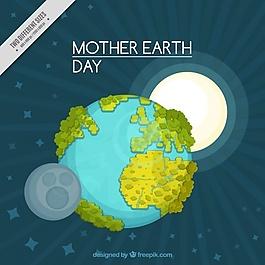 地球日的背景是太阳和月亮