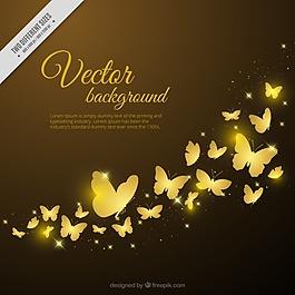 金色蝴蝶的裝飾背景