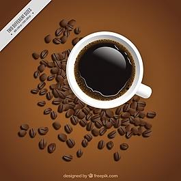 杯子和咖啡豆的背景