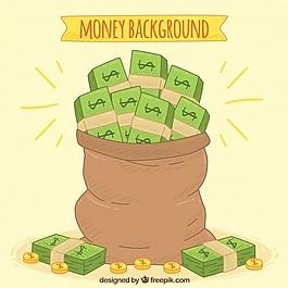 裝滿手的鈔票的背景