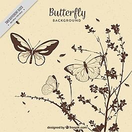 手繪花朵和蝴蝶的復古背景