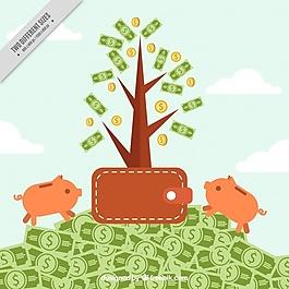 带钱包和两个存钱罐的金钱背景