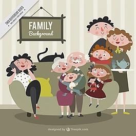 复古风格的幸福家庭