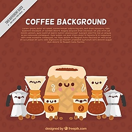 咖啡背景与微笑字符