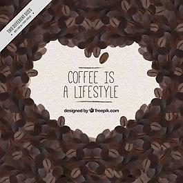水彩背景咖啡豆和信息
