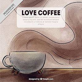 咖啡背景与水彩画风格的马克杯