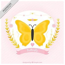 美丽的黄色蝴蝶背景
