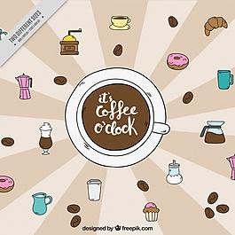 復古背景與糖果和手繪咖啡元素