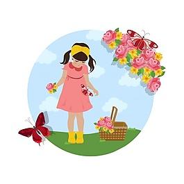 女孩采集花朵