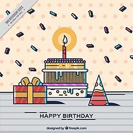 生日背景與線性風格的蛋糕和糖果