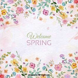 春季背景與花卉水彩細節
