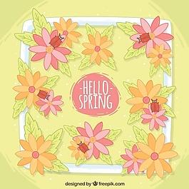 用花和瓢蟲春天的背景