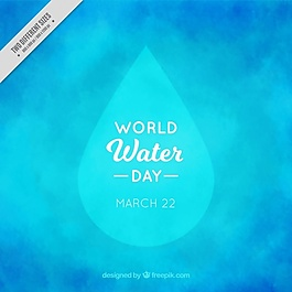 水彩背景与世界水日