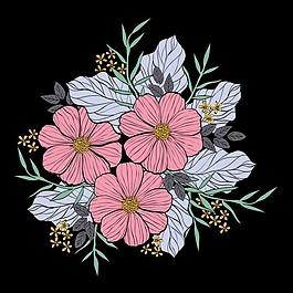 鲜花花束的手绘与线图