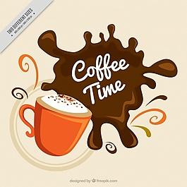 咖啡污迹马克杯背景
