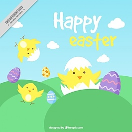 漂亮的小雞和復活節彩蛋的背景