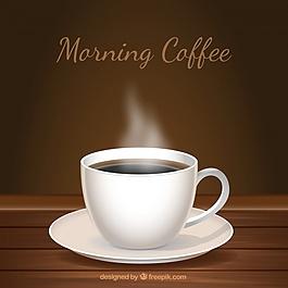 木制背景和一杯咖啡