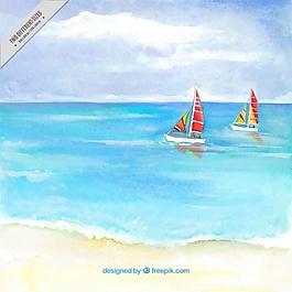 水彩畫沙灘背景與兩艘船