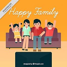 客厅看电视的家庭背景