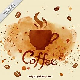水彩咖啡杯背景