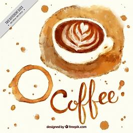 水彩咖啡背景