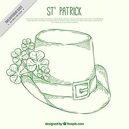 帽子寫生與三葉草的背景