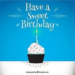 藍色的背景與生日蛋糕