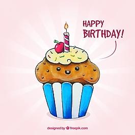美味的蛋糕與蠟燭的生日背景