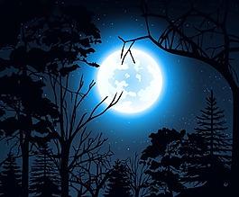 夜色中的樹木矢量