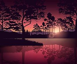 晨曦中的湖面和树木矢量